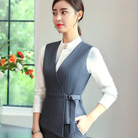 Autumn New Fashion Vest OL Professional women stripes work uniforms Slim V Neck Formal office vests plus size top
