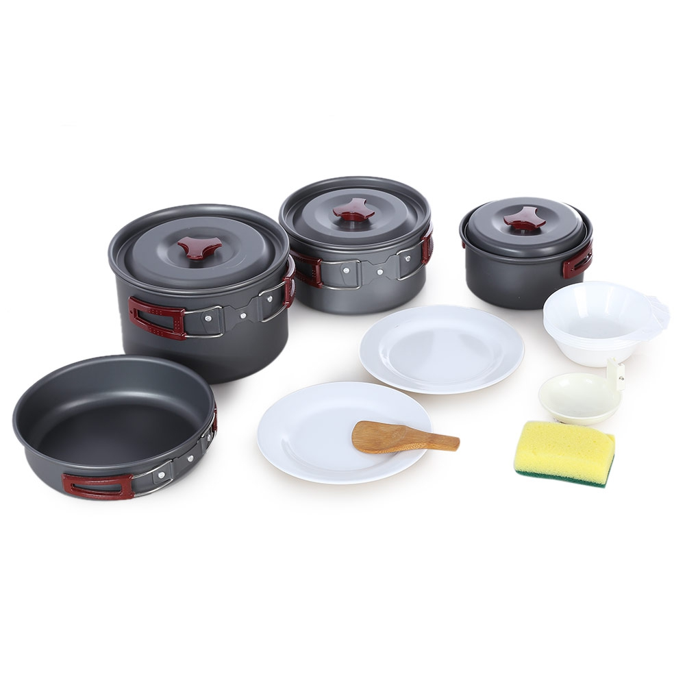 Ultralight Camping Cookware Utensils Outdoor Tableware Set Hiking Picnic Backpacking Camping Tableware Pot Pan 1-2persons Selling Well All Over The World Outdoor Tablewares