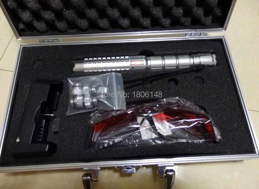 Profissional Poderosa! 800000 m 80 w 532nm ponteiros laser verde Queimar jogo charuto corte de papel plástico + 5 tampas + Óculos + carregador + Caixa