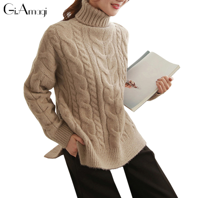 9f173e42121 US $35.8 |Winter Women Sweater Loose Soft Thick Long Sleeve High Neck pull  over woolly Cable Knit Sweater Knitted Jumper Sweaters Pullover-in ...