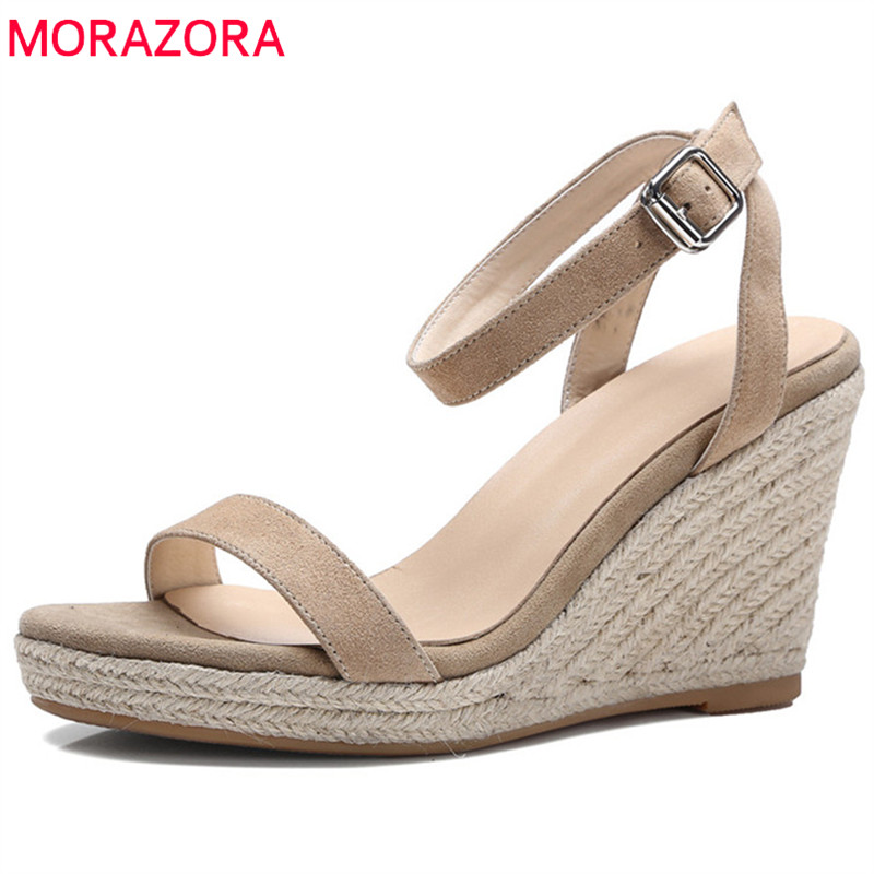 MORAZORA 2018 new arrival women sandals simple summer shoes elegant suede leather platform shoes fashion wedges high heels shoes assault rifle style zinc alloy gun keychain toy silvery black