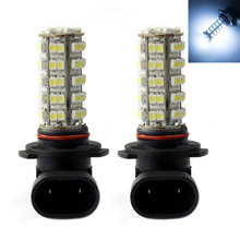 2PCS White 9005  68SMD LED Car Fog Light Lamp Bulb H10 9140 9145 Super Bright 2pcs light bulbs car led fog light h10 9145 super bright 2835 16smd white 6000k 80w