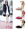 2016 New style women's sexy high heels shoe Buckle Pointed Toe Stiletto rivets pumps sandals ladies shoes Pink Black Beige