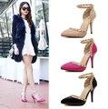 2016 novo estilo mulheres sexy salto alto calçados fivela dedo apontado Stiletto rebites bombas sandálias das senhoras sapatos bege rosa