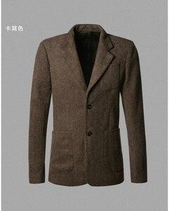 Image 5 - Casual Mannen Blazer Zakelijk Slim Fit Kostuum Homme Pak Blazer Masculino Mannelijke Wollen Jasje Blazer Hombres Ocasionales F196