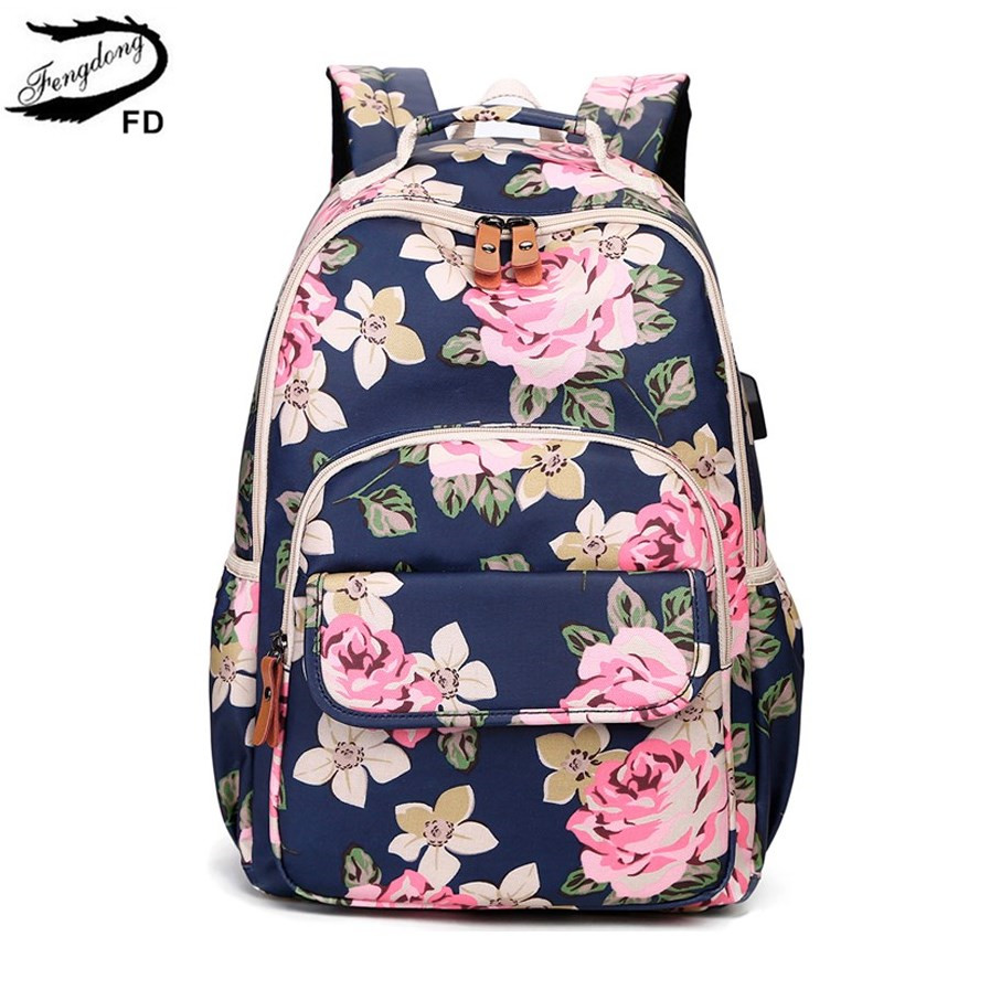 Женский рюкзак с цветочным принтом FengDong, школьный рюкзак в Корейском стиле с винтажным принтом для девочек