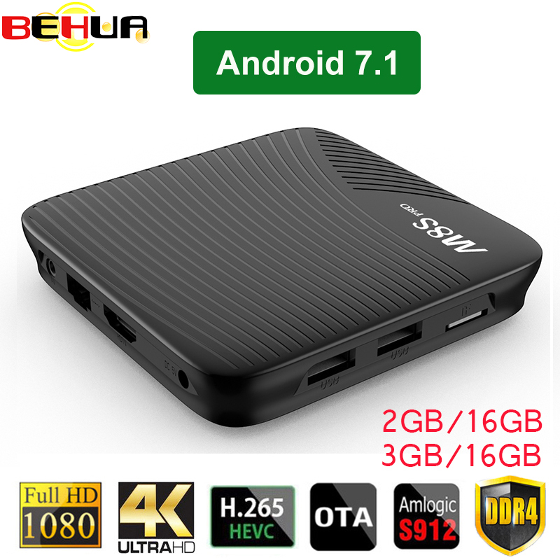 Android 7.1 TV Box M8S PRO 2GB DDR4 16GB EMMC 3GB 16GB Amlogic S912 64 bit Octa core 2.4G/5G WiFi H.265 4K VP9 Smart Set Top Box 10pcs vontar x92 3gb 32gb android 7 1 smart tv box amlogic s912 octa core cpu 2 4g 5g 4k h 265 set top box smart tv box