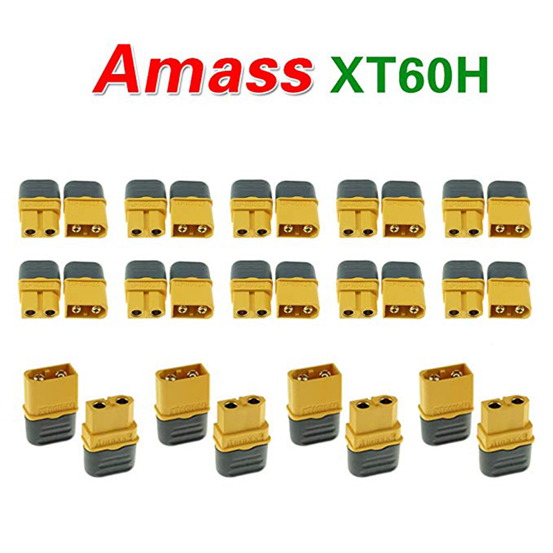 10 Pair Amass XT60H Bullet Connector Plug Upgrated of XT60 Female & Male Gold Plated For Rc Parts