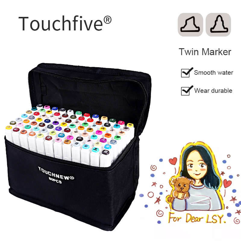 Touchfive 30/40/60/80 Color Markers Sketch Set For Manga Design Double Head Brush Pen For School Art Supplies я immersive digital art 2018 02 10t19 30