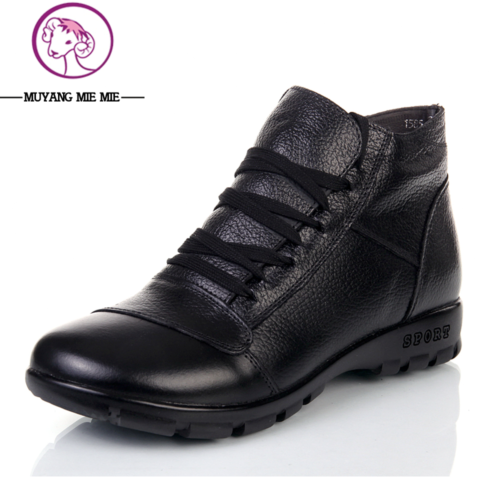 Plus Size35-43 New 2017 Genuine Leather Women Boots Flat Booties Soft Cowhide Women's Shoes Lace-Up Ankle Boots zapatos mujer odetina 2017 new fashion genuine leather women platform flat ankle boots lace up casual booties autumn winter shoes big size 43