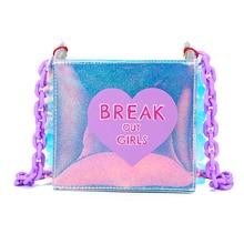 Nuevo 2018 Summer hologram bolsos para mujeres lindo corazón bolsa de mensajero del estampado harajuku solapa lentejuelas messenger bag clear beach monedero