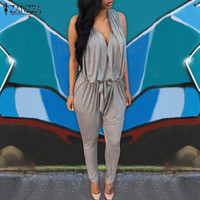 2018 Rompers Womens Jumpsuits Sexy Sleeveless Long Casual Jumpsuit V Neck High Waist Overalls Plus Size