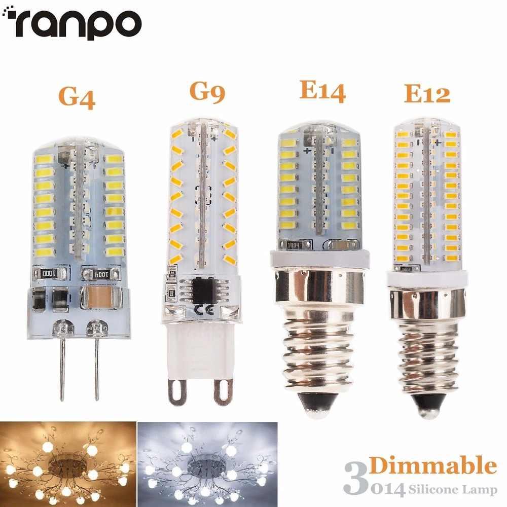 Dimmable E12 E14 LED Bulb Jagung Cahaya 5 W 7 W 10 W G9 G4 Silicone Lampu 3014 SMD AC 110 V 220 V Chandelier Mengganti Lampu Halogen