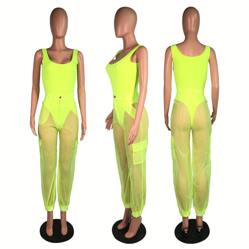 HTB11Q01Xlr0gK0jSZFnq6zRRXXav - ANJAMANOR Sexy Two Piece Set Bodysuit Top and Mesh Pants Neon Pink Green Summer 2 Piece Club Outfits Matching Sets D59-AB72