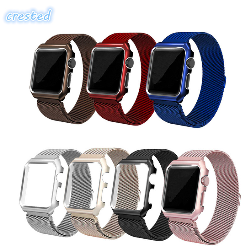 CRESTED Milanese Loop Strap Stainless Steel band For Apple Watch band 42mm/38 wristband Link Bracelet for iwatch 1 2 3 with case kopeck milanese loop strap for apple watch band 42mm 38mm mesh stainless steel bracelet strap for iwatch serie 1 2 3 wrist band