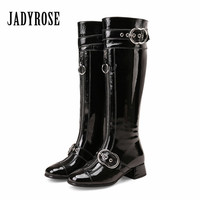 Jady Rose Fashion Women Knee High Boots Autumn Winter Patent Leather Botas Mujer Female Straps Mid