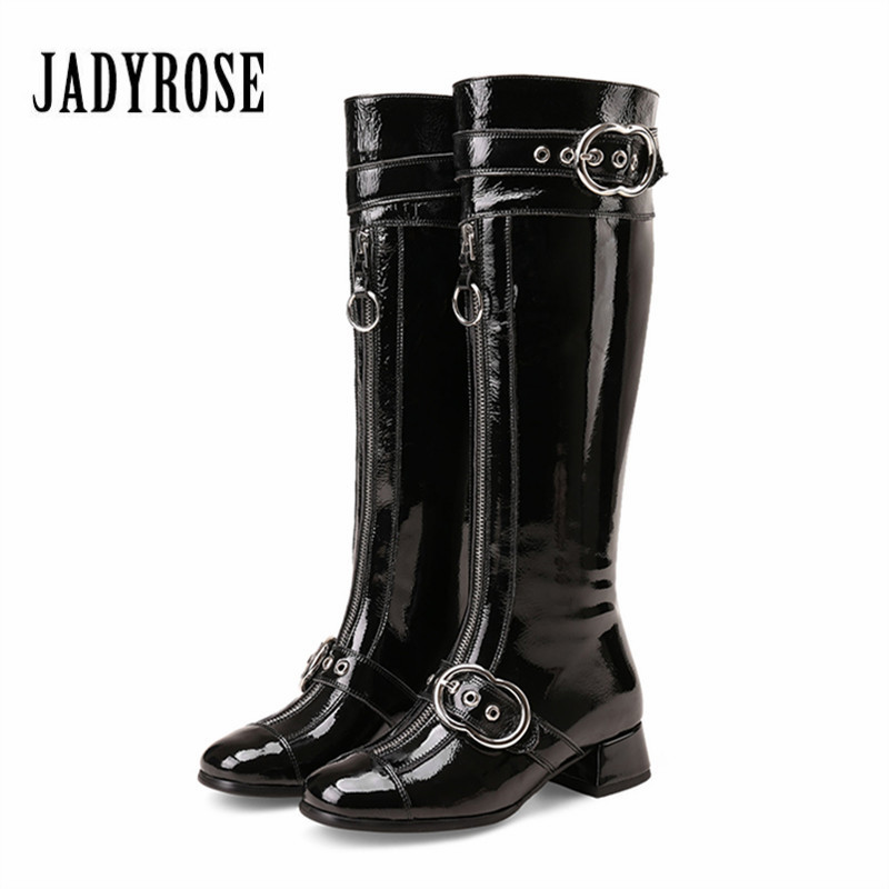 цены на Jady Rose Fashion Women Knee High Boots Autumn Winter Patent Leather Botas Mujer Female Straps Mid Heel Long Boot Shoes Woman в интернет-магазинах