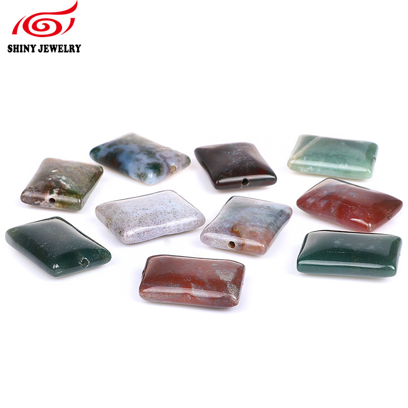 New Quality Green and Brown Multi Color Rectangle Natural Stone Indian Agates Beads For Jewelry Making DIY Bracelet Wholesale
