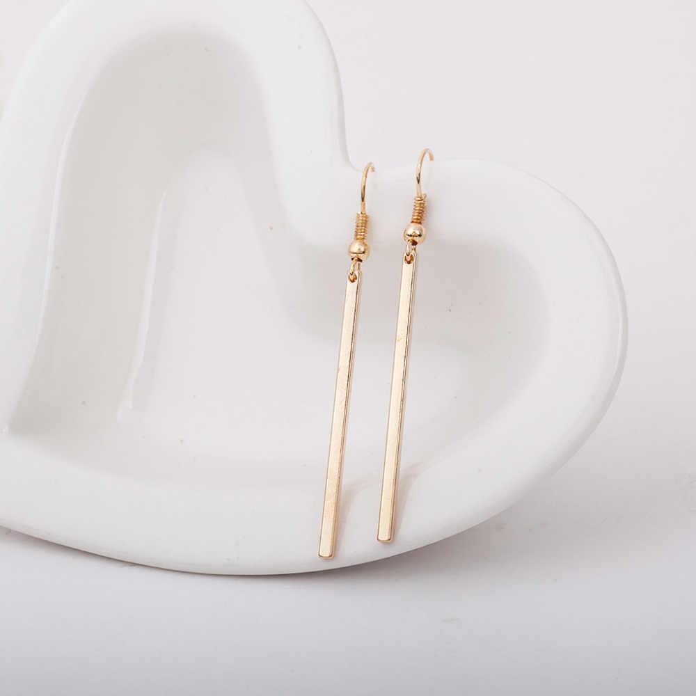 7f01f0d4b Long Straight Strip Gold Silver Plated Dangle Earrings Women Tassel Earring  Vintage Accessories Fashion Ear Jewelry