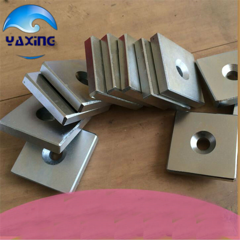 1pcs cube magnet with hole 50x50x25 - 8mm hole Block Neodymium Rare Earth Permanent Magnet 80x60x7 block magnet 80x60x17mm with hole magnet n48 magnet permanet block powerfull magnet free shipping
