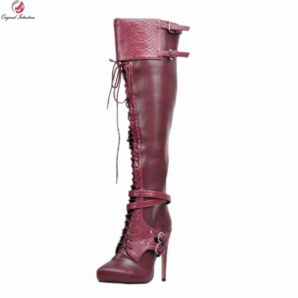 где купить Original Intention Charm Women Over-the-knee Boots Nice Round Toe Thin High Heels Boots Wine Red Shoes Woman Plus US Size 4-15 дешево