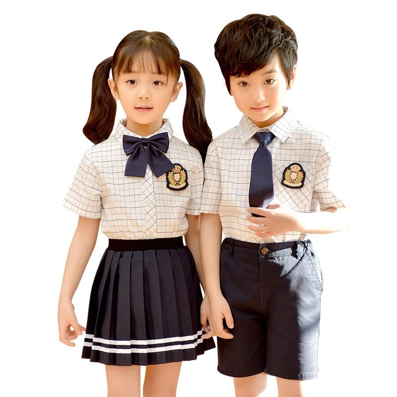 Style britannique Plaid conception chemise pantalon costume avec noeud papillon Badge enfants étudiant école uniforme filles garçons choeur Costumes Z991