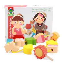 Children Baby Wooden Building Block Toy Blocks Cartoon Stringing Threading Beads Game Intelligence Educational