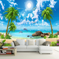 Custom Mural Wallpaper HD Beautiful Sandy Beach Sea View Beach Coconut Trees 3D Photo Background Wall