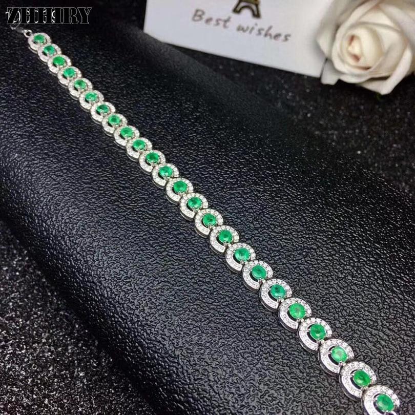 ZHHIRY Natural Emerald Bracelet Genuine 925 Sterling Silver Gem Stone Bracelets For Women Fine Jewelry