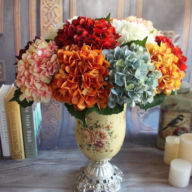 4 Types! Artificial Vintage Flores Silk Hydrangea Decorative Flowers  Wedding Bridal Bouquets Home Decoration Party