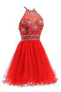 Image 2 - ANGELSBRIDEP Halter Short Homecoming Dresses 2020 Sexy Backless Beading Tulle Vestidos Formatura Curto Party Celebrity Gown