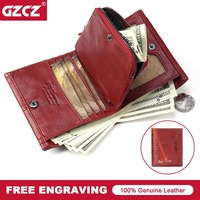 GZCZ Genuine Leather Women Wallets 2018 New Design Fashion Female Purse Trifold Zipper Cash Photo Holder