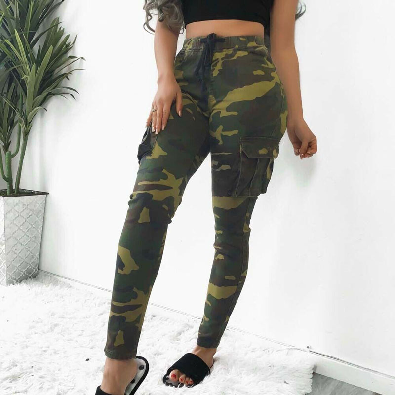 2019 New Brand Fashion Women Casual Camo Long Pants Army Cargo Jogger Military Camouflage Harem Trouser