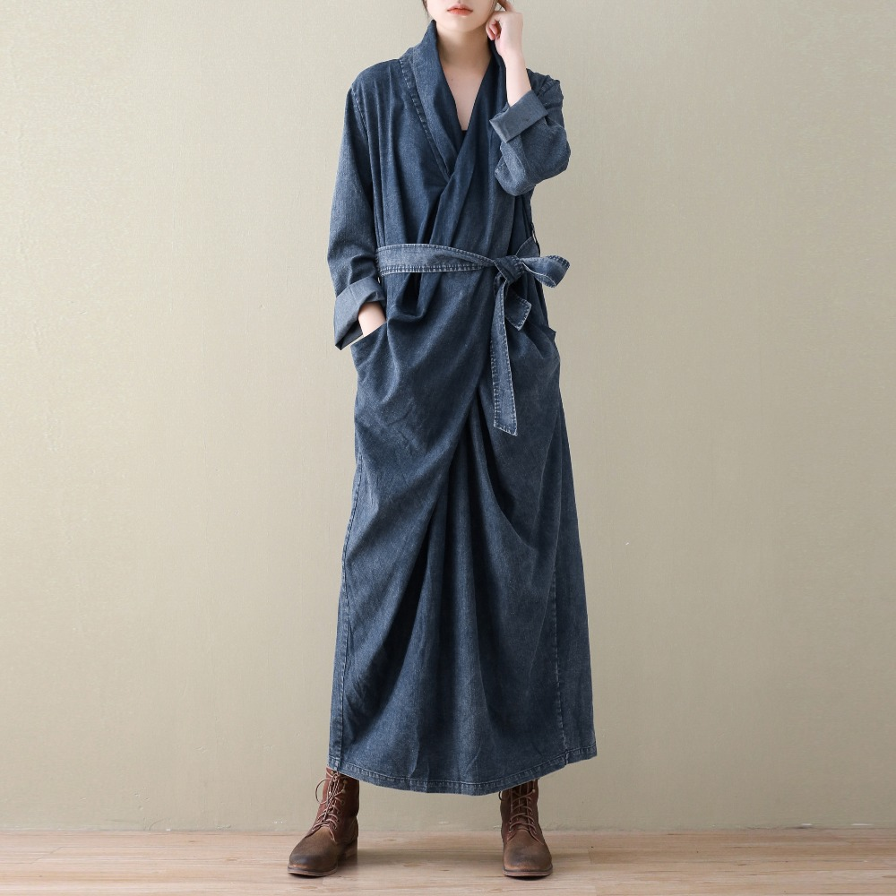 2018 Spring New Jean Pullover Dress Long Sleeve Dress Women Loose Plus Size Cotton Linen Mori Girl Literary Long Robe