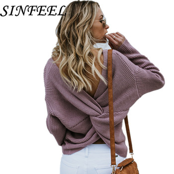цена на SINFEEL Oversized Sweater Women Back V Neck Cross Knitting Ladies Pullover Sexy Backless Long Sleeve Jumpers Sweaters Female