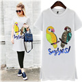Europa de la Alta Calidad de Moda de Verano Camiseta de Las Mujeres de Lentejuelas Urraca Manga Corta Camisetas Mujer Niñas Dulce Lindo Tops Camisa JA2328