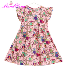 Kids Dresses for Girls Animal Owl Princess Summer Children Cotton Dress 2-12Y Baby Girls