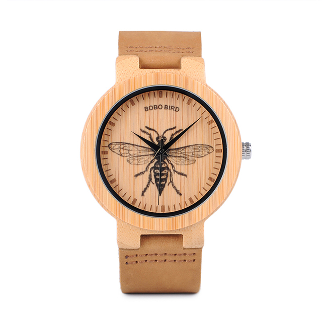 Simple Bamboo Print Icon Leather Strap-in Quartz Watches