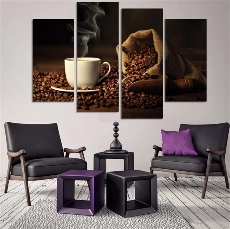 2017 Rushed Direct Selling No 4 Panels Coffee Canvas Art Painting Picture Cuadros Kitchen Home Decor Wall Unframed Paintings
