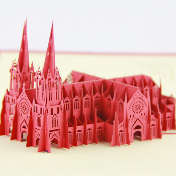 Cubic 3D Life Building America St. Patrick church tourism creative handmade paper stereo cards