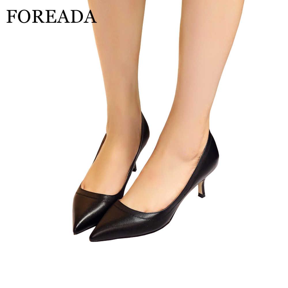 FOREADA Hakiki deri ayakkabı Kadınlar Yüksek Topuklu Sivri Burun Ofis Bayan iş ayakkabısı Doğal Gerçek Deri Siyah Pompalar Beyaz 34-40