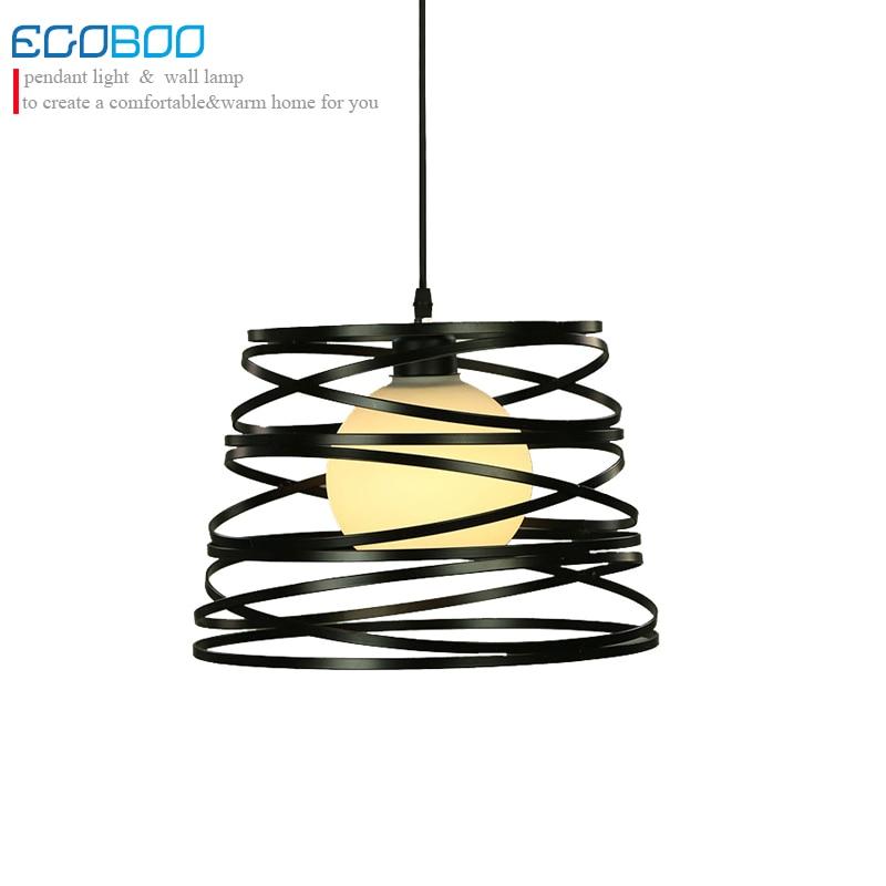 Retro Iron and Glass Pendant Lights dining Room Lamp Restaurant Bedroom Living Room Pendant Lamp Hanging Light Fixture E27