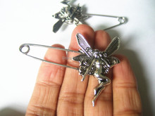 6Pcs Silver Tone Large Angel Wings Durable Strong Metal Kilt Scarf Brooch Safety Pin 53mm