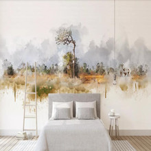 Modern nordic minimalistic abstract tree elk landscape background wall