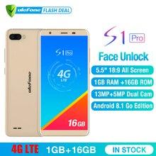 Ulefone S1 Pro Cep Telefonu Android 8.1 5.5 inç 18:9 MTK6739 Quad Core Yüz KIMLIĞI 16 GB ROM 13MP + 5MP Arka Çift Kamera 4G Smar...