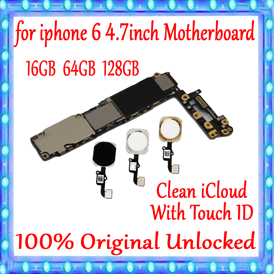 NO iCloud For iPhone 6 4.7inch Motherboard 16gb 64g 128g 100% Original unlocked for iphone 6 Logic board With Touch ID MainboardNO iCloud For iPhone 6 4.7inch Motherboard 16gb 64g 128g 100% Original unlocked for iphone 6 Logic board With Touch ID Mainboard
