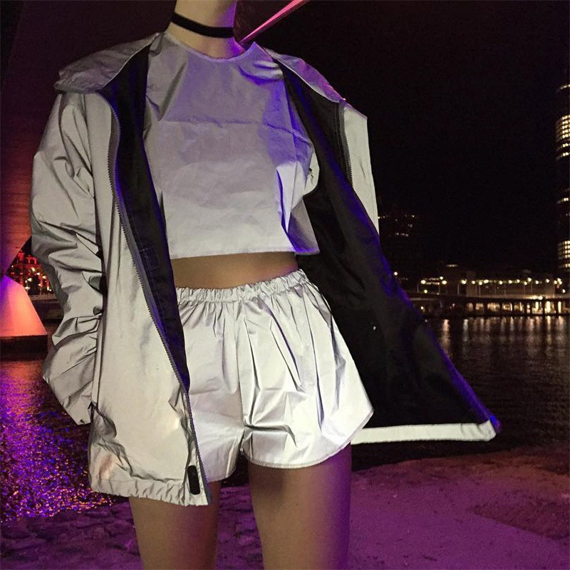 Women Summer Reflective   Shorts   Night Luminous Casual High Waist Nigh Light Trouser Women Trousers FS99