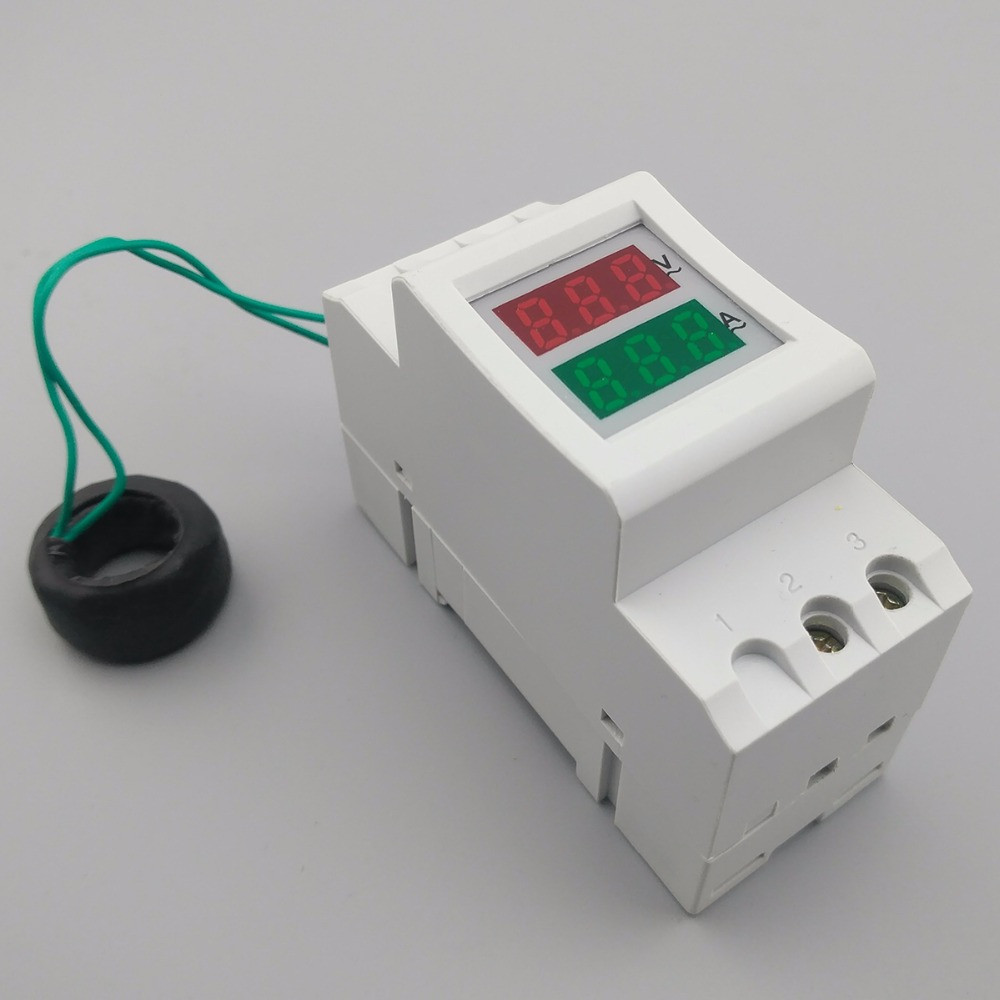 2p 36mm Din Rail Dual Led Display Voltage And Current Meter Schematic Diagram Indicating The Power Supply Voltmeter Ammeter Range Ac 80 300v 200 450v 0 100a In Meters From Tools On