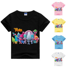 hot deal buy 2017 new cartoon trolls t shirt boys girls trolls t-shirt cartoon kids summer t-shirt kids free shipping ds19