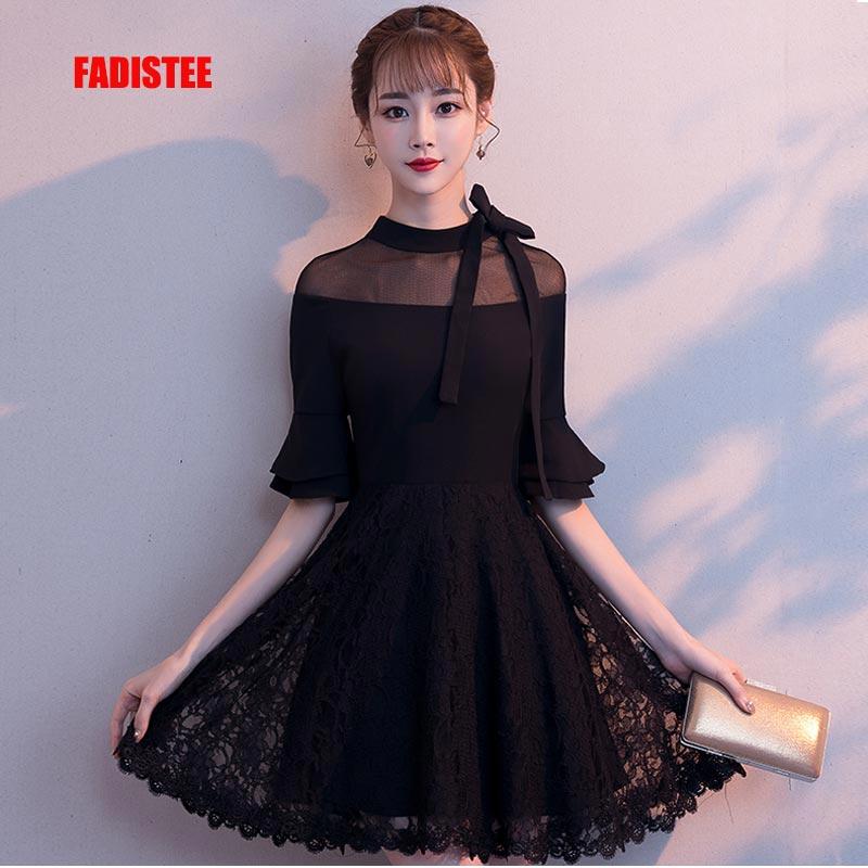 FADISTEE New Arrival Cocktail Party Prom Dresses Vestido De Festa Lace Simple Pagoda Sleeve Mini Short Style Little Black Dress